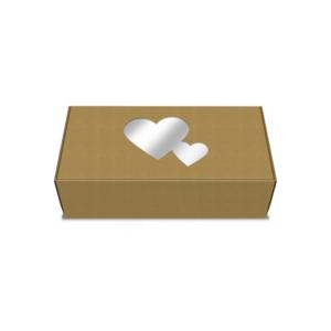 Caixa Coração com Janela 18x9x5cm