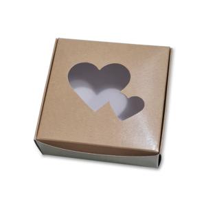 Caixa Kraft com Janela Coração 10x10x3,5cm