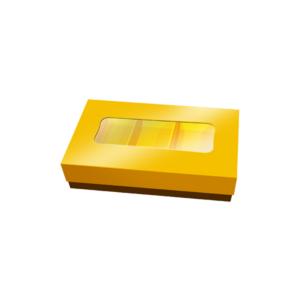 Caixa Retangular Pequena com Tampa Dourada e Janela