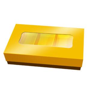 CRP - Caixa Rectangular Pequena com Tampa Dourada e Janela
