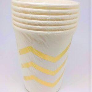 Copos Brancos com Chevron Dourado 6 uni