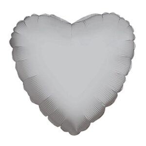 Balão Foil  Coração Cetim Platinium