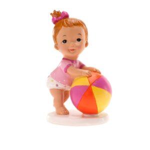 Bebé Menina com Bola de Praia