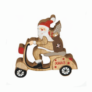 Figura Madeira Pai Natal Scooter
