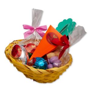Cabaz de Páscoa com Amêndoas e Ovinhos de Chocolate