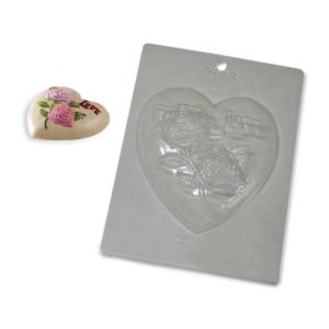 Molde Plástico Coração Amor e Rosas 15x16x3,2cm