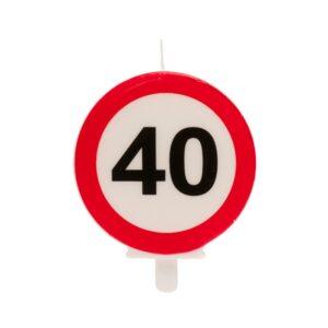 Vela 40 Aniversário Sinal Proibido 6,5cm