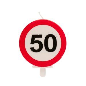 Vela 50 Aniversário Sinal Proibido 6,5cm