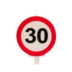 Vela 30 Aniversário Sinal Proibido 6,5cm